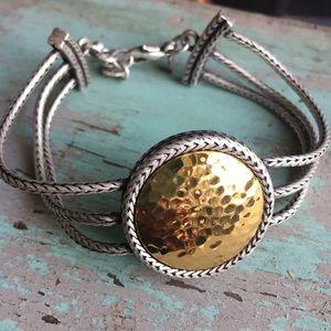 Gold & silver hammered disc bracelet